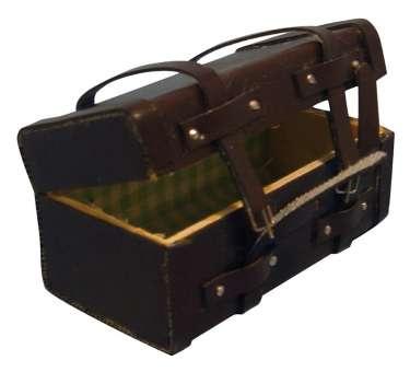 587188 Koffer braun 6x3xH3.5cm Kunstleder z.öffnen